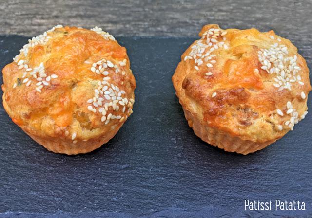 muffins au thon, muffins thon et cheddar, muffins salés, muffins pour l'apéritif, pique-niques, buffets, entrées, patissi-patatta