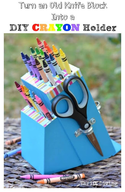 Knife Block Crayon Holder