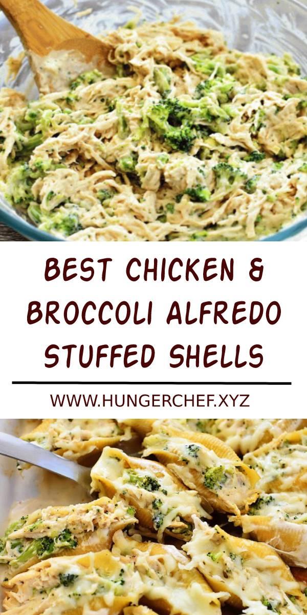 Best Chicken & Broccoli Alfredo Stuffed Shells Recipe #bestchickenrecipe #bestrecipe #chicken #chickenrecipe #dinner #dish #maindish #broccoli #alfredo #stuffedshells