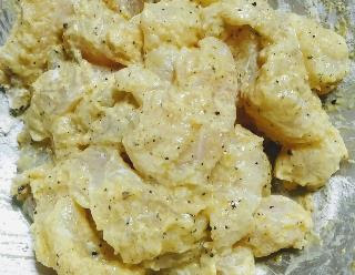 Mixed mustard paste with fish fingers for fish finger recipe