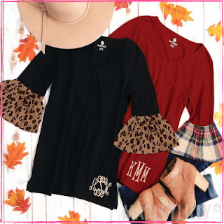Monogrammed Bell Sleeve Top from Marleylilly.com