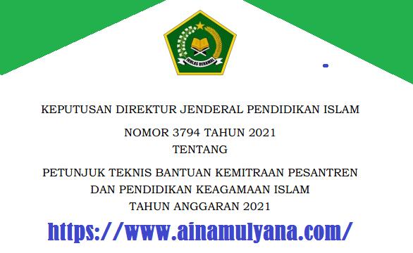 Juknis Bantuan Kemitraan Pesantren Dan Pendidikan Keagamaan Islam Tahun Anggaran 2021