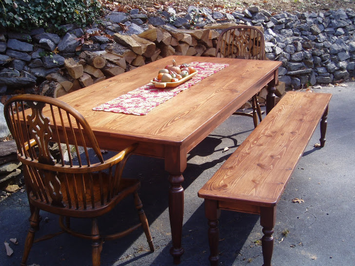 Charleston FarmHouse Tables: Legs are pegged w/beaded apron - Farm Style Table With Storage Bench