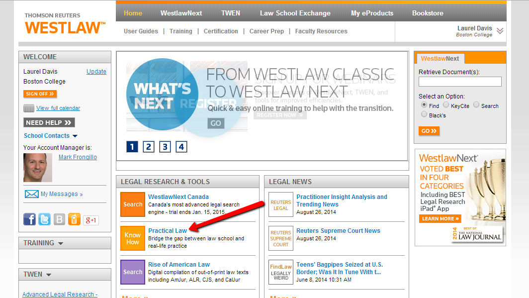 Practical Law Company (PLC) available via Westlaw! | Boston College
