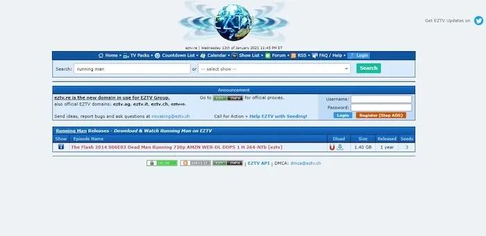 Popular and Active Torrent Download Sites EZTV
