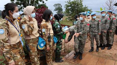 Dansatgas Garuda XXXIX-C RDB Terima Kunjungan Balasan Komandan Kizi China