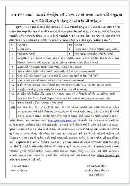 How to Apply Online For RTE Admission in std 1