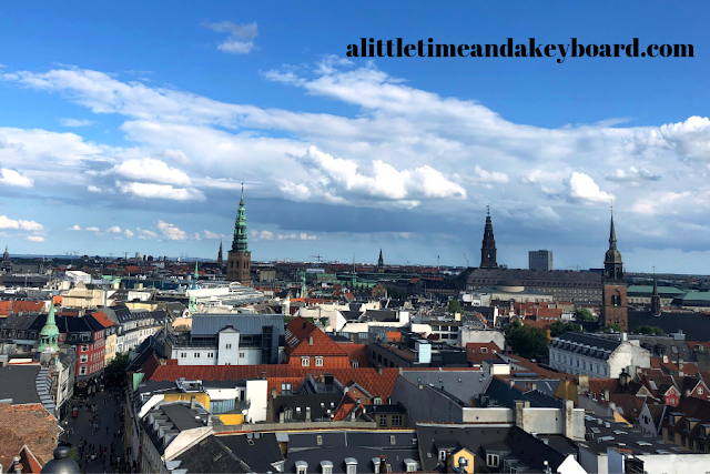 Copenhagen view from The Round Tower with St. Nicholas Church's spire to the left.