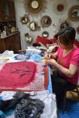 stage sac laine feutrée en laine mérinos chez cathy Vagnon