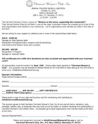 2015 Clermont Woman's Club Fashion Show Sponsorship Form