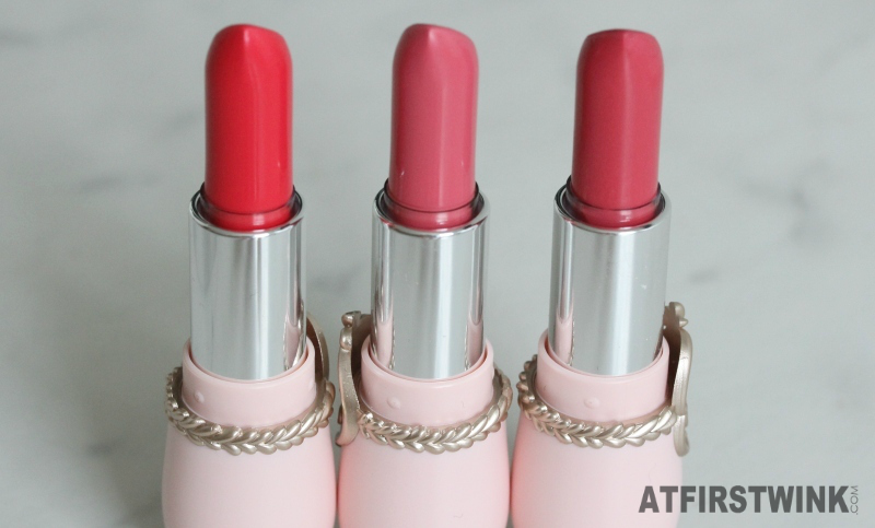 three shades of the Etude House Etoinette Crystal Shine Lips lipsticks