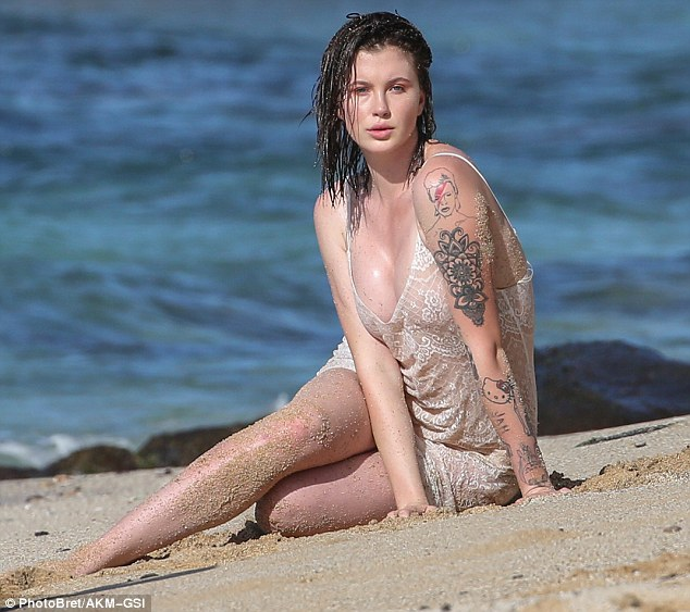 Ireland Baldwin strips to sheer slip dress for Hawaii photoshoot