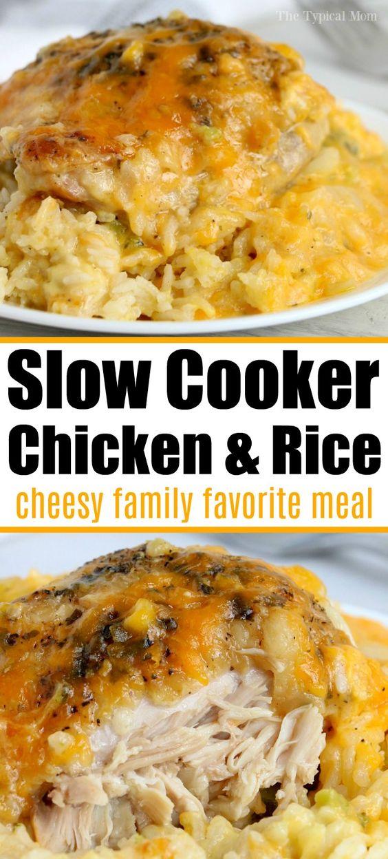 Crockpot Cheesy Chicken and Rice Recipes