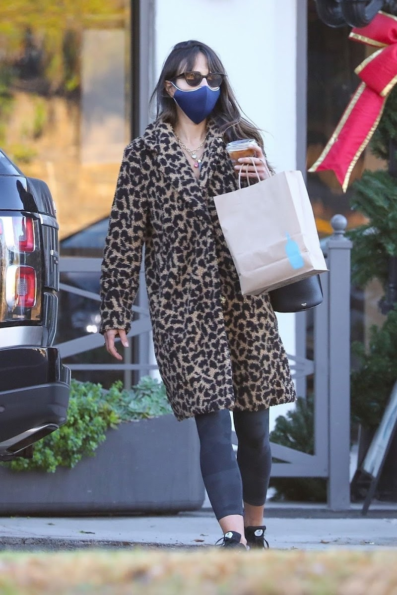 Jordana Brewster  in Animal Print Coat out in Brentwood 18 Dec-2020