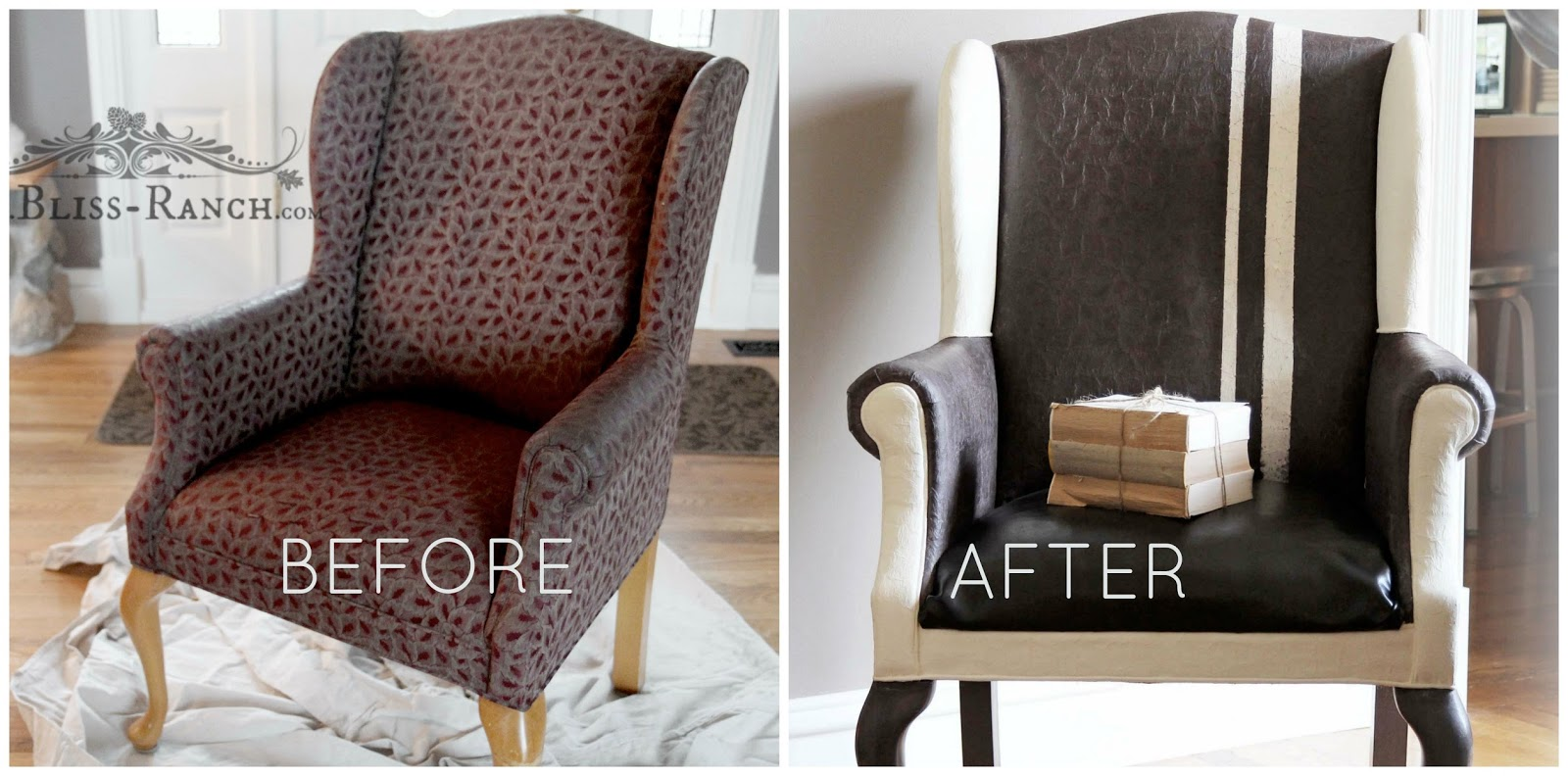 Painted fabric chairs - Before After Painting Fabric With Chalk Paint Bliss Ranch Com