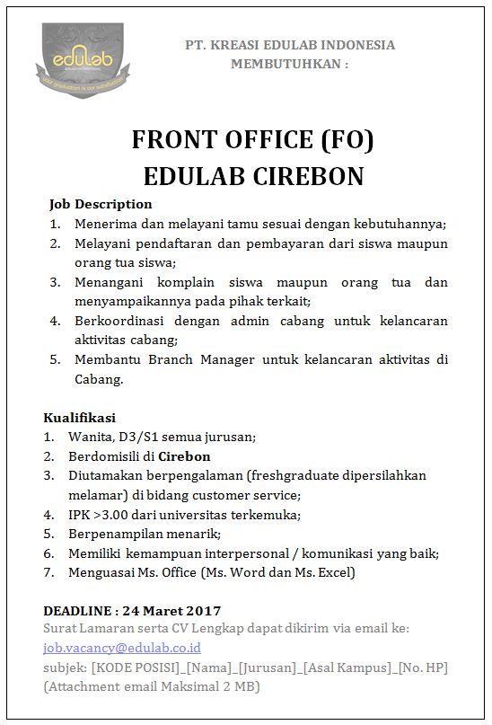 Lowongan Kerja front office