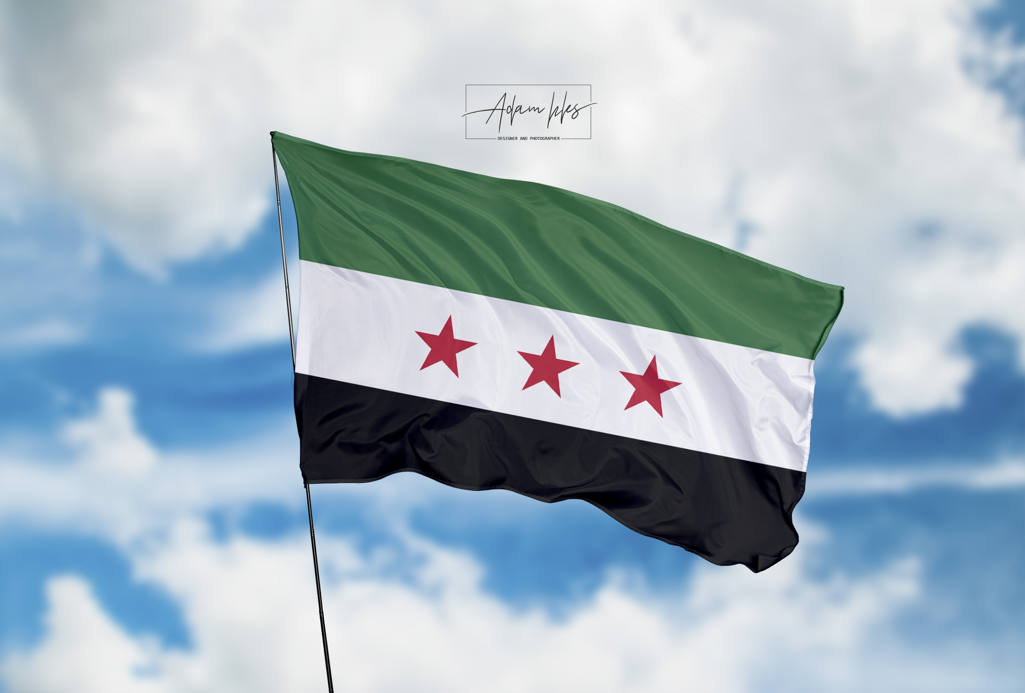 تحميل اجمل خلفية علم سوريا يرفرف في السماء - اجمل خلفيات سوريا الرائعة