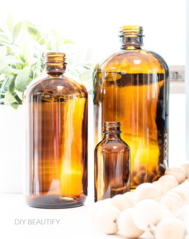 close up of amber bottles