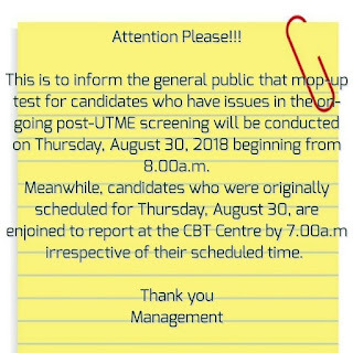 UNILORIN Mop-UP Post UTME Screening Schedule