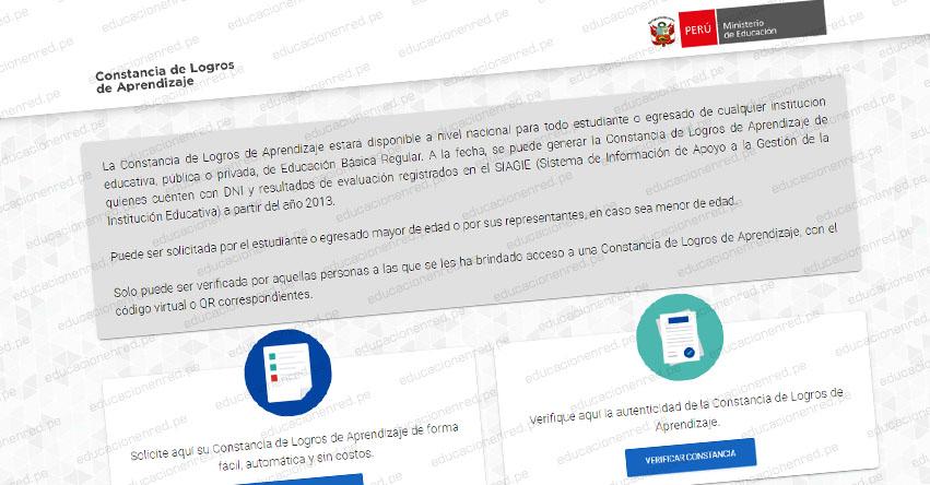 CONSTANCIA DE LOGROS DE APRENDIZAJE: Aplicativo para acreditar trayectoria educativa - MINEDU - www.constancia.minedu.gob.pe