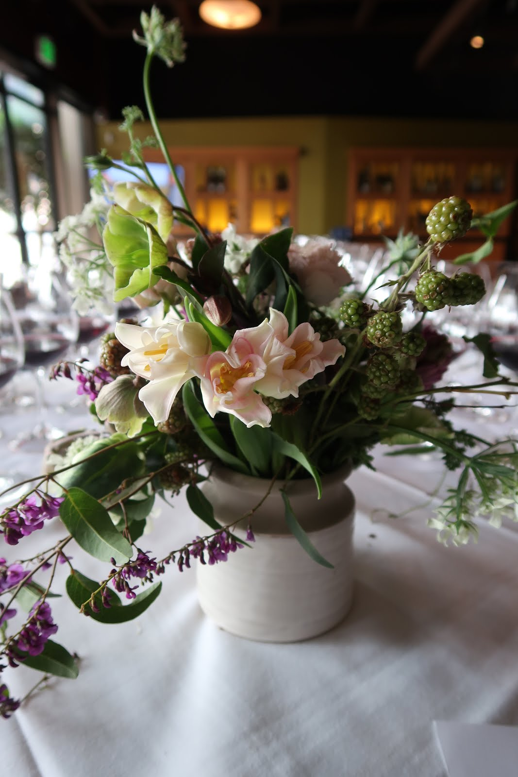 Beautiful flowers adorned the tables at the WALT Wine Root 101 experience at One Market Restaurant.