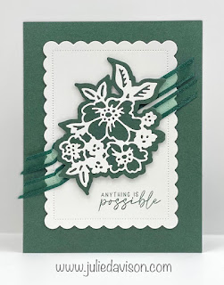 Stampin' Up! 2021-2023 In Color Cards using Penned Flowers and Scalloped Contours Dies ~ Evening Evergreen ~ www.juliedavison.com #stampinup #incolor