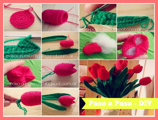 Cómo hacer Tulipanes tejidos