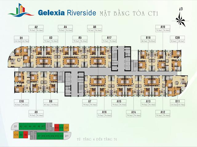 Mặt bằng tòa CT1 chung cư Gelexia Riverside