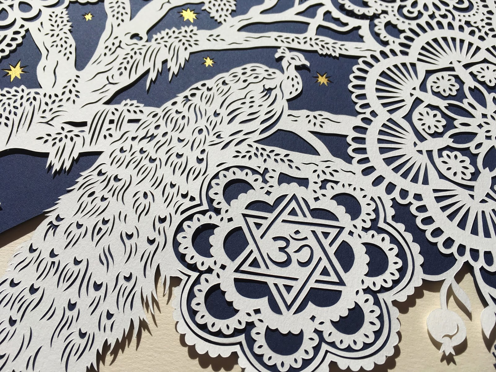 handmade papercut ketubah for interfaith wedding by Woodland Papercuts
