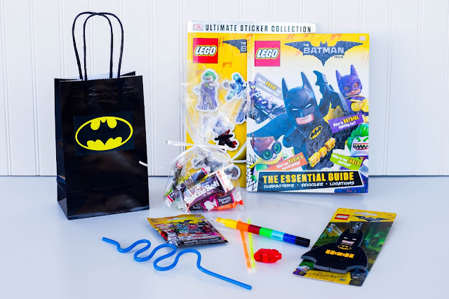 lego luggage tags, candy, finger lights, lego books