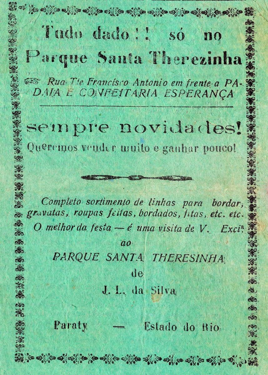 Propaganda antiga do Parque Santa Therezinha veiculado em 1932