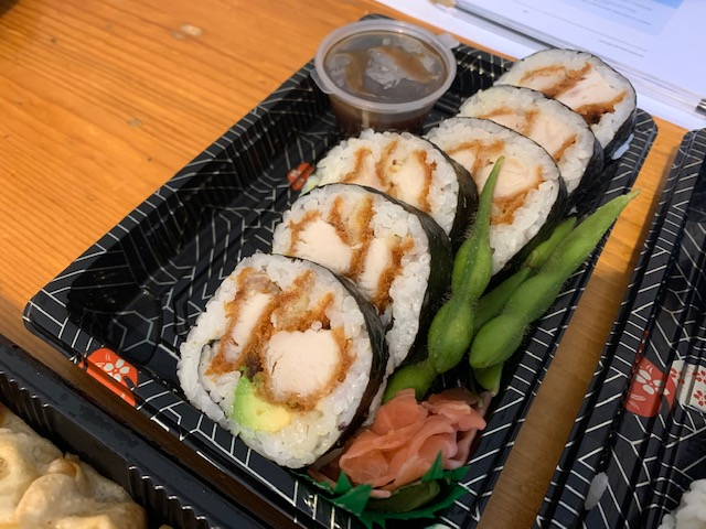 Platter of katsu chicken sushi rolls
