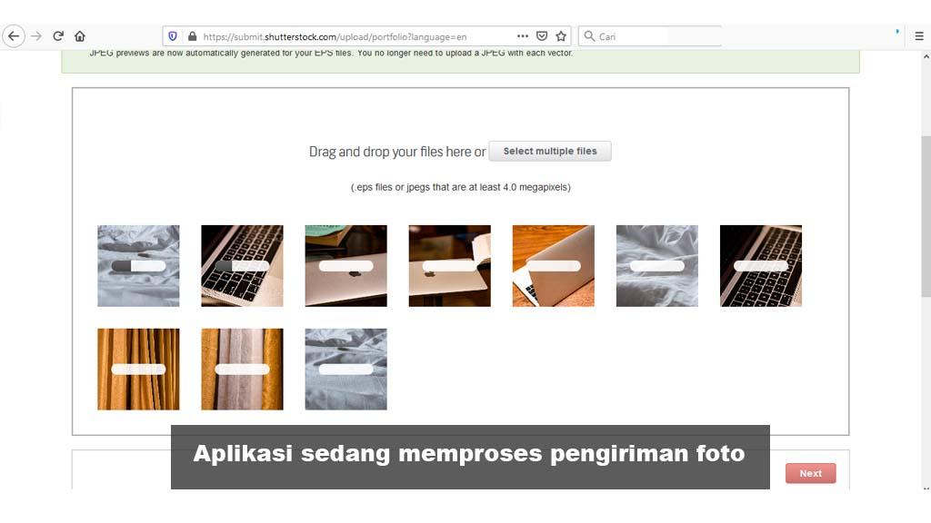 Fajriology.com - aplikasi shutterstock sedang memproses pengiriman foto