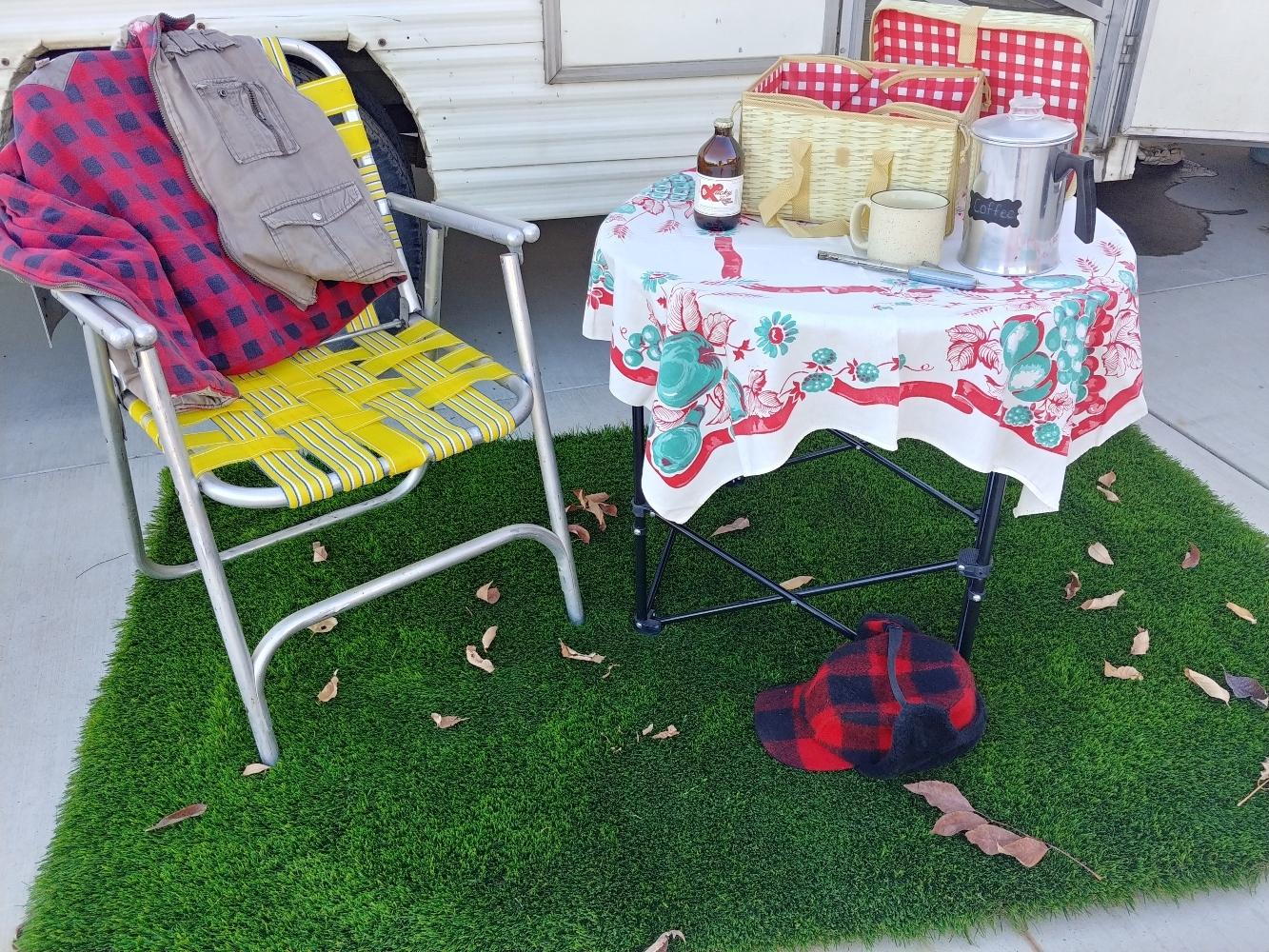 grass camping rug