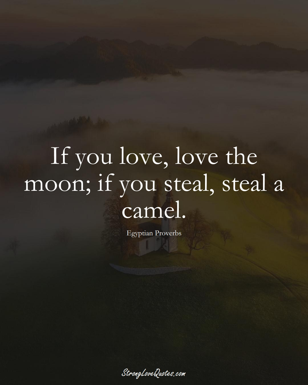 If you love, love the moon; if you steal, steal a camel. (Egyptian Sayings);  #MiddleEasternSayings