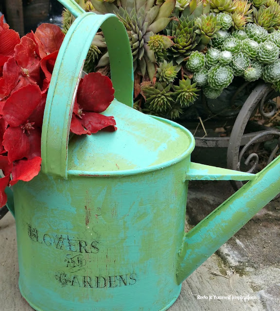 Painted Wood Tub Planter And Watering Can With Free