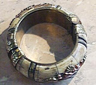 Antique style bone bangle chunky