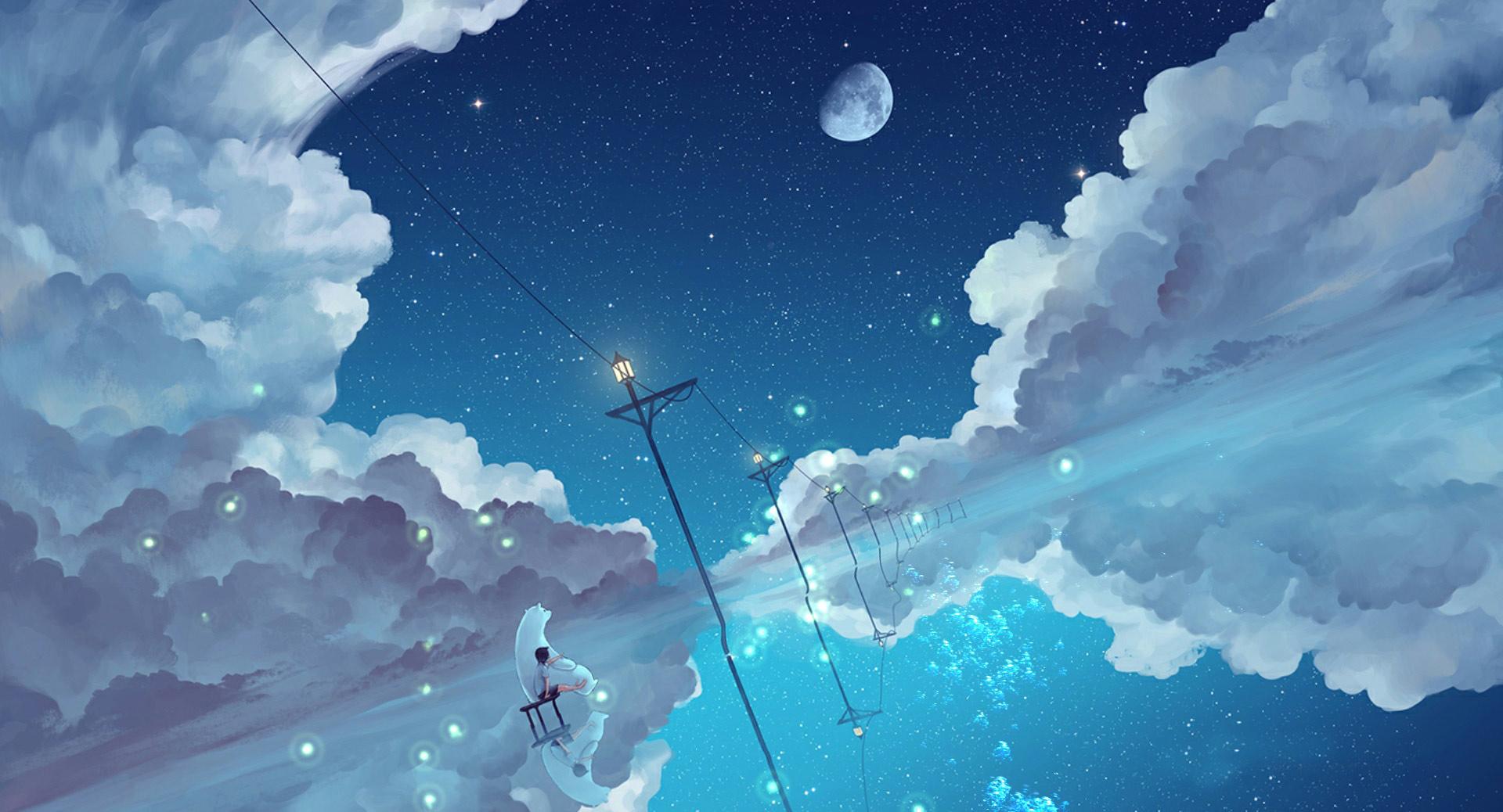 Polar Bear Boy Starry Night Sky Animated Wallpaper - Animated Live