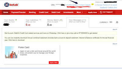 kotak 811 netbanking page for changing mobile number