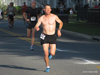 Gary Droze (1st, 17:06) presses the pace early, half a kilometer into the 3rd annual Fight For Air 5K.