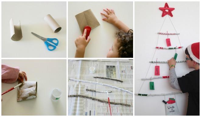 practicar lectoescritura en navidad: diy arbol de navidad con palos