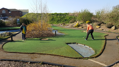 A long second putt on the first hole at Clays Golf Centre in Wrexham