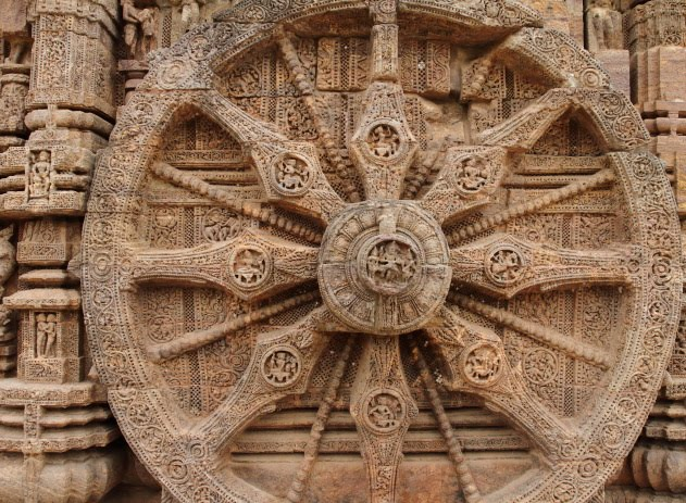 Different Positions from Kamasutra on the Konark Sun Temple CHariot Wheels