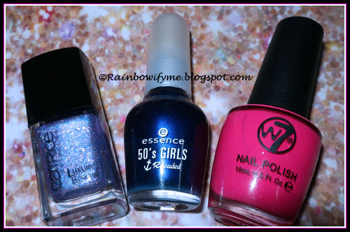 "Catrice ""Let's Get Lost In Vegas""; Essence ""I'm A Marine Girl""; W7 ""Fuchsia"""
