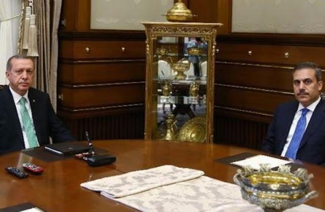 اجتماع سري  بين الرئيس التركي  أردوغان ورئيس جهاز الاستخبارات التركية