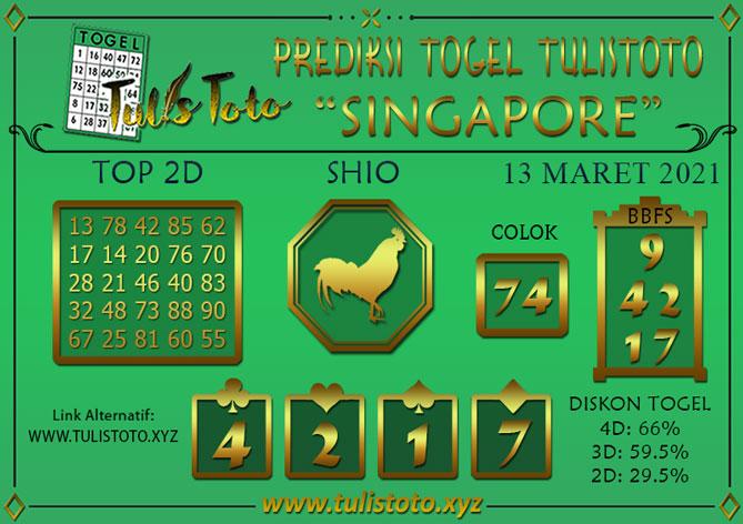 Prediksi Togel SINGAPORE TULISTOTO 13 MARET 2021