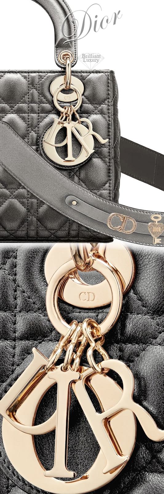 Dior Lady Dior Gunmetal-Colored My ABCDIOR Calfskin Bag #brilliantluxury