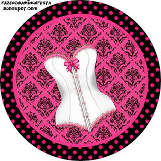 Toppers o Etiquetas para Imprimir Gratis de Lencería en Rosa