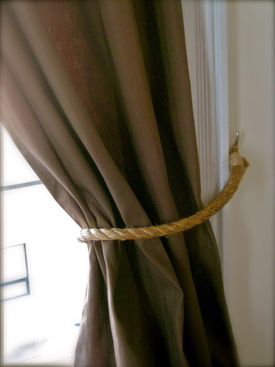 Curtains Ideas curtain holdback ideas : Little Brags: DIY Rope Tie Backs -- Restoration Hardware Inpired