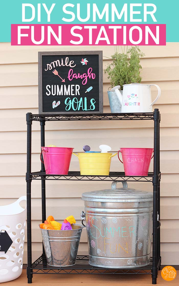 Make a DIY Summer Fun Station for your backyard! Organize outdoor toys with this simple summer fun station. Perfect for backyard parties and summer playdates! A simple solution to organizing kids toys outside. #summer #organized #organization #organizedhome
